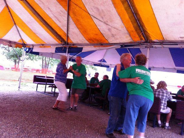 Dancing in the beer tent.