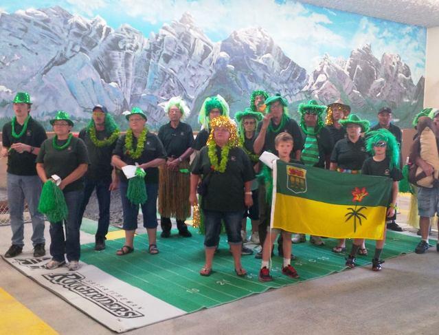"Opening ceremonies: Sask group - ""Roughriders ground?"""